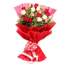 colorful love rose send this gift bunch of 20 mix colour roses bouquet byupahar