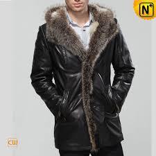 men leather coat fur collar
