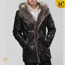men leather coat fur collar