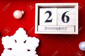 Boxing Day Sale Calendar With Date On Red Background Christmas
