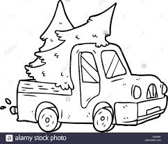 line drawing of a pickup truck carrying christmas trees Stock Vector ...