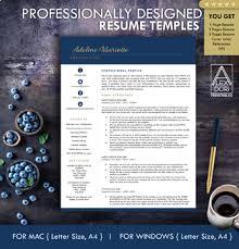 Digital Resume Templates Resume Template Navy Blue And Gold Digital Resume 1 Page 2 Page 3 Pages