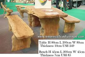 natural curve wood table and bench sets outdoor dining table furniture from indonesia