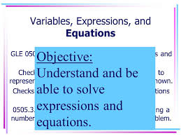 variables expressions and equations gle 0506 3 4 solve single step linear equations