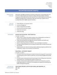 Resume Samples Volunteer Resume Sample Best Volunteer Work Resume Samples 100 85