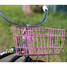 square metal wire beach cruiser bicycle bike basket pink