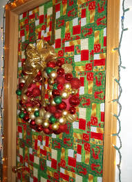This door has music in the wrapping paper, a string of lights around the  frame