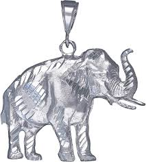 ejewelryplus large sterling silver elephant pendant necklace 12 grams 2 inches with diamond cut finish and 24 inch figaro chain com