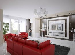 Living Room With Red Sofa Fabulous White Living Room Interior Furnished By Striking Red Sofa