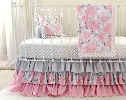 Pink Gray Crib Bedding, Watercolor Floral baby bedding, Grey ... & Pink Gray Crib Bedding, Watercolor Floral baby bedding, Grey Nursery Set -  Ruffle Crib Adamdwight.com