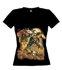 Streetwear Shirt Designs Ethno Designs Streetwear Womens Animal T Shirt Wild Horses Slim Fit