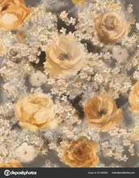 Heldere Aquarel Gouden Decoratieve Bloemen Een Donkere Achtergrond