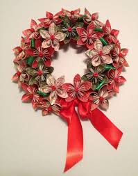 Christmas Paper Flower Wreath Origami Paper Flower Wreath Kusudama Paper Flower Wreath