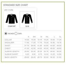 Online Shirt Size Chart Slim Fit Custom Shirt Size Chart Men Custom Clothing