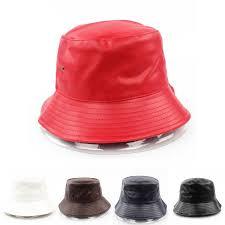 leather bucket hats outdoor travel hat for women and men summer waterproof pu fishing caps size cky derby hats trucker hats from gathertopfashion