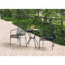 Wonderful Iron Patio Furniture Mainstays Jefferson Wrought Bistro Set Black Seats To Inspiration Decorating