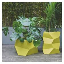 discount plant pots uk. faceted yellow faceted fibreglass planter 31 x 54cm | buy now at habitat uk discount plant pots uk