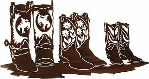 24 family affair western boots laser cut metal wall art