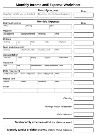 Monthly Income And Expenses Monthly Income And Expense Worksheet Worksheet For 11th