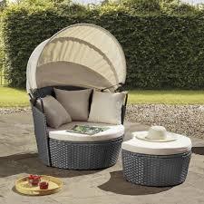 rattan day bed chair sun lounger folding canopy sun shade garden furniture patio