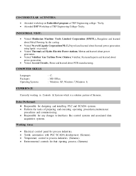 Co Curricular Activities Resume Cover Letter Technical Support