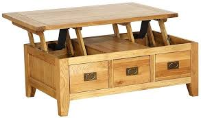 vancouver petite oak 1 drawer storage lift up top coffee table