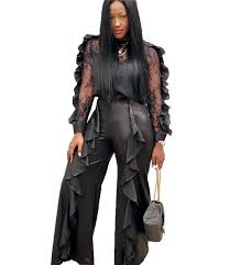 women black two piece set top and pants ruffle mesh crop top and pu leather pants suits las office party club 2 piece outfits