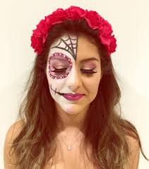 cute half face sugar skull makeup