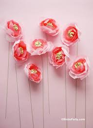 How To Make Flower Using Crepe Paper Diy Crepe Paper Flowers Bouquet Party Ideas Party Printables Blog