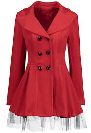 wool blend mesh panel skirted trench coat red l