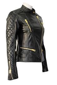 las tr black biker gold zip quilted designer genuine soft real leather jacket uk 14 us