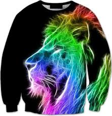 rainbow rasta lion long sleeve 3d street wear sweater wesellanything co
