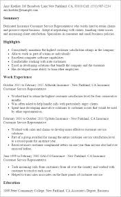 Sample Insurance Customer Service Resume Insurance Customer Service