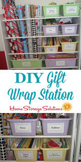 diy gift wrap station made from an old toy organizer for storing wrapping paper and