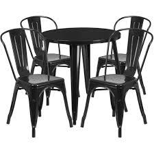 30 round black metal indoor outdoor table set with 4 cafe chairs ch