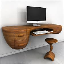 unique custom wood wall mounted floating computer desk with keyboard tray drawer and stool ideas