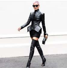 jacket dress black thigh high all black everything leather jacket high heels boots heels sunglasses style