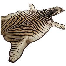 zebra hide rug trimmed in leather at 1stdibs zebra skin rug repair