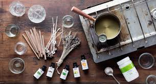 blend in coconut oil and essential oils cool to 160 degrees