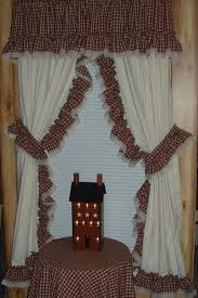 ruffled curtains ruffled curtain two red fabric choices ruffled country curtains
