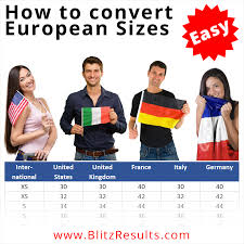European Size Chart Clothing