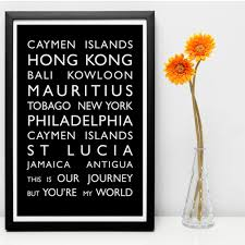 personalised destination bus blind canvas  on personalised canvas wall art uk with personalised typography word art prints
