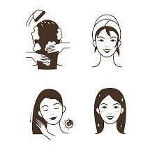 washing hair clipart. Beautiful Washing Woman Take Care About Her Hair Steps How To Apply Hair Mask Vector  Isolated And Washing Hair Clipart S