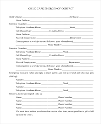 Emergency Form For Daycare Free 11 Sample Emergency Contact Forms In Pdf Doc