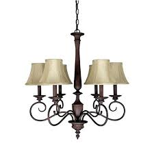 chandelier with fabric shades hampton bay 5 light oil rubbed bronze