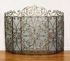 antique gold finish iron 5 panel fire screen scroll design with mesh