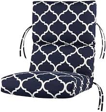 bullnose high back outdoor chair cushion from home decorators navy and white pattern
