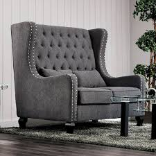 Furniture Of America Lystelle Romantic Wingback Button Tufted Linen Loveseat High Back Loveseat S18