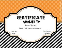 Costume Contest Certificate Template Free Halloween Costume Awards Customize Online Instant