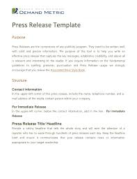 Press Release Templet Press Release Template